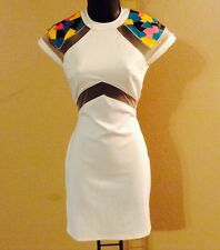 Sexy Short Sleeve White Gold Trim Mesh Ankara Tribal Print Cocktail Dress M