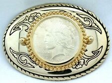 Gold Color Oval Western REAL 1923 Peace Silver Dollar Belt Buckle epbb81