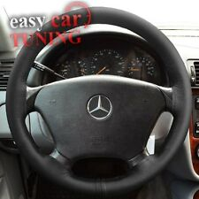 FOR MERCEDES SLK R170 96-04 BLACK REAL GENUINE LEATHER STEERING WHEEL COVER NEW