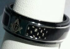 Freemason Ring with Carbon Fiber Inlay (size 9)