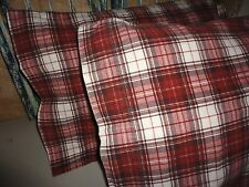 WOOLRICH FLANNEL WARM MAHOGANY RUST PLAID LODGE (PAIR) KING PILLOWCASES 19 X 36