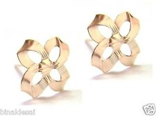Womens Ladies 9ct Gold Large Square Loop Bow Flower STUDS EARRINGS X'Mas GIFTBOX