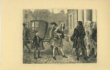 ANTIQUE VERSAILLES MAN FANCY SUIT COAT SHOES SEDAN CHAIR HIGH SOCIETY PRINT