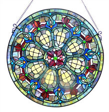 """BAROQUE JEWELS *  VICTORIAN GREEN BLUE 24"""" ROUND STAINED GLASS WINDOW PANEL"""
