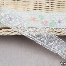 "3Yds Embroidery scalloped mesh net hand printing eyelet lace trim 1.2"" YH na"