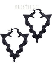 Restyle Serpentine Black Earrings Hoops Occult Jewelry Snake Delta Symbol Goth