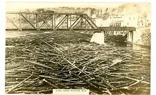 Perth NB -LOG JAM IN RIVER- RPPC Postcard New Brunswick Canada