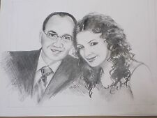 Large Hand Drawn Custom TWO Person Pencil Sketch Portrait from photo pictures