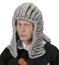 Mens Grey Judge Wig Colonial 18th Century Peruke Casanova Court War Fancy Dress