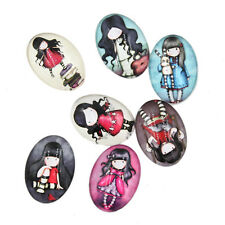 10pcs New Mixed Colour Girl Patterns Round Glass Fit Jewellery Making On Sale LC