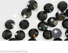 2mm Excellent Quality Hot Fix/Iron On Crystal JET BLACK Flatback Round SS6