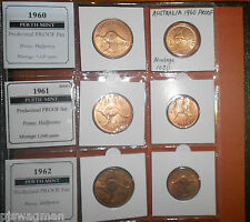 WOW PERTH MINT PROOF SET 1956 TO 1962 PENNY & HALF PENNY VERY RARE