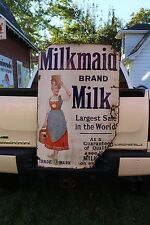 SCARCE 1920's MILKMAID BRAND MILK PORCELAIN SIGN METAL SIGN GAS OIL LADY