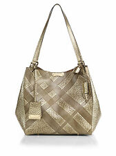 $1295 BURBERRY SMALL CANTERBURY METALLIC EMBOSSED LEATHER CHECK BAG TOTE
