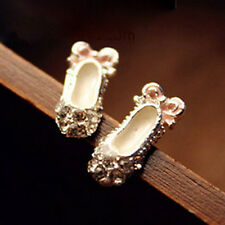 Women's Unique Full Shiny Rhinestone Ballet Shoes Bow Stud Earring Jewelry CATB