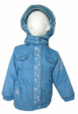 Girls New Coat/Jacket Thick & Warm Winter Coat Light Blue Fury Hood/Hoodie 2Y