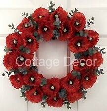 SILK FLAME RED POPPY WREATH REMEMBRANCE MEMORIAL TRIBUTE HANDMADE