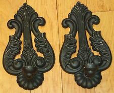 """METAL WALL SCONCE CANDLE HOLDERS TAPER VINTAGE CHIPPY BLACK PAINT ACANTHUS 11"""" H"""
