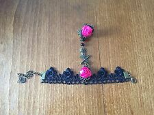 Pagan/Gothic Slave Bracelet Finger Ring Harness - Black Lace & Pink Rose - NEW