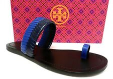 NIB TORY BURCH NEPTUNE BLUE & BLACK WOVEN TOE SANDALS SHOES 9.5 RT250