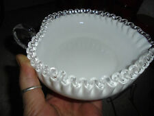 "LOVELY Fenton SILVER Crest MILK GLASS ""Heart Relish"" Dish! USA /1956-1959!"