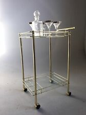 VINTAGE MID CENTURY MODERN BRASS BAR CART TEA BEVERAGE RARE