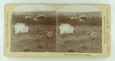 Keystone Stereoview of two Hunters Shooting Prairie Chickens in a Field 1901