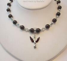 Mythical Phoenix necklace with Garnet gemstones celtic beads and enamel phoenix