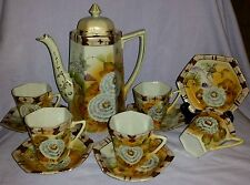 LOVELY ANTIQUE NIPPON HAND PAINTED OCTAGONAL CHOCOLATE SET FLOWERS & BUTTERFLIES