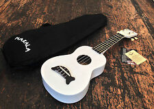 Makala Pearl White Soprano Dolphin Ukulele Uke Fitted With Aquila Strings