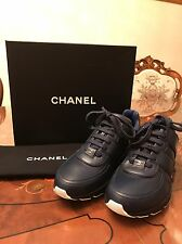 CHANEL MENS TRAINER 16A sneaker Calfskin Navy 100% Authentic Size 43