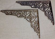 "2 old Shelf support brackets 5 X 7"" vintage rustic iron Victorian 1880's hex"