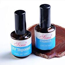Pro 2pc UV Topcoat + UV Gel Primer Liquid For Acrylic Nail Art Tips Tool EE