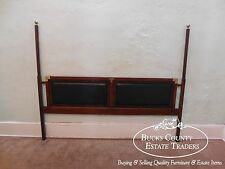 Rosewood Mahogany & Black Leather Campaign Poster King Headboard