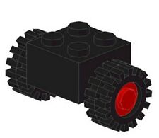 LEGO - Brick, Modified 2 x 2 with Red Wheels & Black Tires / Offset Tread (X2)