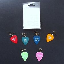 SET 6 PAIRS FRED FLARE GUITAR PICK SHAPED PIERCED EARRINGS COLORFUL CAPTIONS NEW