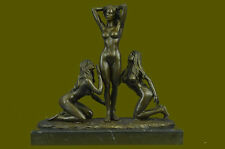 Three Friends (bronze 3 Graces Girls Females Sculpture Naked Erotic Statue