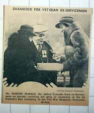 1939 Mr Martin Mchale Oldest Tyneside Irish Ex-serviceman Receiving Shamrock