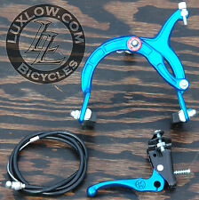 Blue Old School BMX Bike MX Front Brake Lever Cable Caliper Cruiser Bicycle