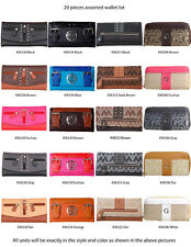 Wholesale Lot - 20 Assorted Women's Designer Wallets Clutch Purses