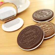 Mini Pocket Chocolate Cookie Portable Makeup Cosmetic Compact Mirror With Comb