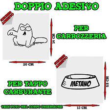 2x Sticker Adesivo Decal Gatto Ciotola Metano Rifornimento Tappo Auto