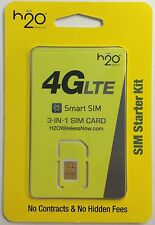 USA SIM Card - H2O Wireless AT&T 4G/LTE 3-in-1 Nano / Micro / Regular SIM