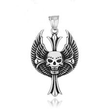 Anhänger Scull&Wings aus Edelstahl 316L Biker MC Chopper Harley Motorcycles- NA1