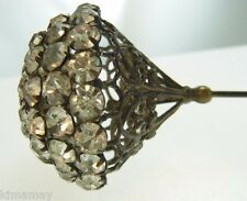 "ANTIQUE 13 1/4"" VICTORIAN LARGE RHINESTONE FILIGREE CONE HATPIN"