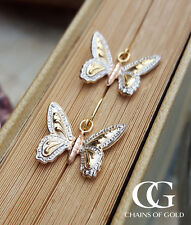Fine 9ct Three Colour Gold Butterfly Drop Earrings