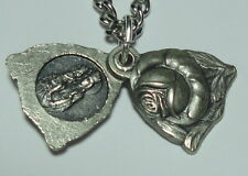 St Anne de Beaupre Rose Locket Medal & Chain Grandparents Equestrians Carpenters