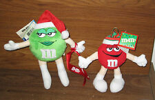 """M&M M&Ms 8"""" Green & 6"""" Red Soft Plush Character with Xmas Hat M&M's Mars NWT"""