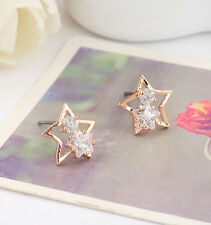 18K Rose Gold GF Lady's Sparkling Swarovski Crystal Cute Star Stud Earrings Gift
