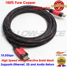 4096×2160p Premium 15 FT HDMI 1.4 Cable w/Nylon Net Ethernet 24K Gold Plated